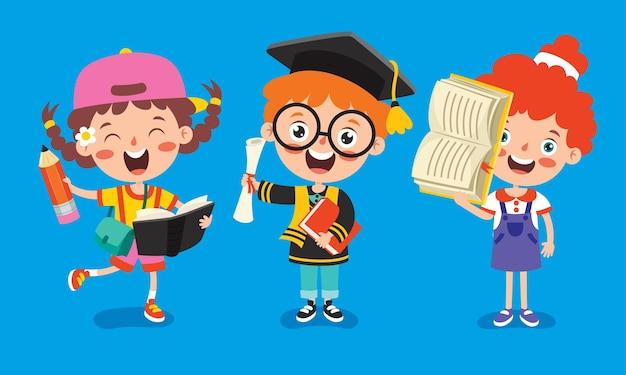 Onderwijsconcept grappig schoolkind