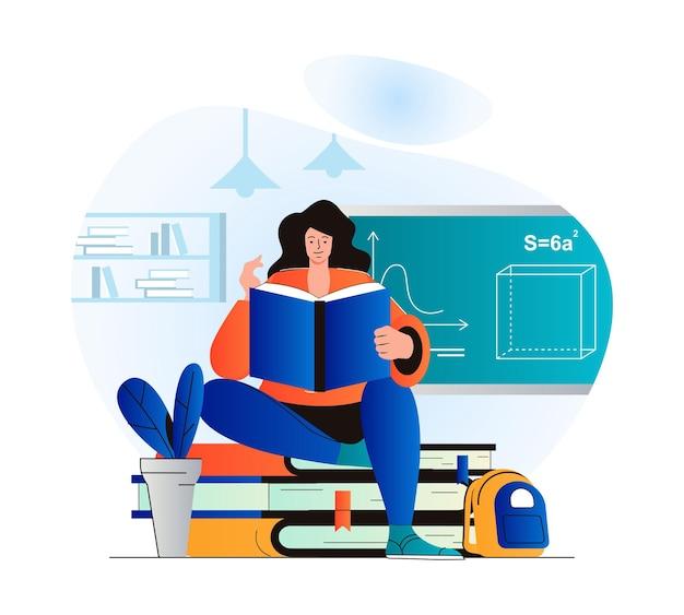 Onderwijsconcept in modern plat ontwerp vrouw leest boek leerlingstudies uit leerboek