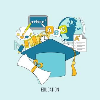 Onderwijsconcept met afstudeerkapelement in dunne lijnstijl