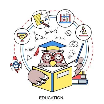 Onderwijsconcept met een uil in lijnstijl