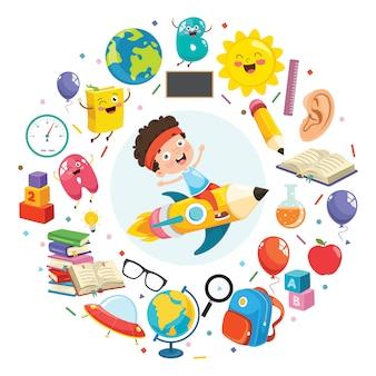Onderwijsconcept met grappige kinderen