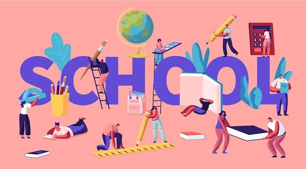 Onderwijsconcept met kleine mannelijke en vrouwelijke karakters met schoolbenodigdheden