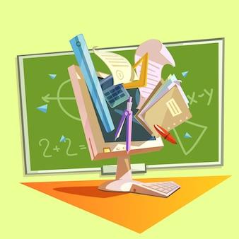 Onderwijsconcept met school die voorraden in retro stijl bestuderen