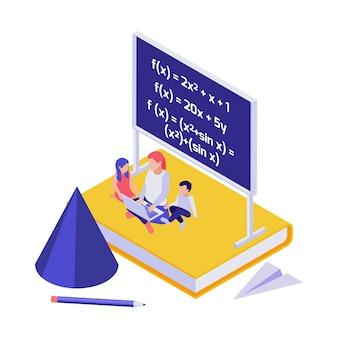 Onderwijsconcept met vrouw en kinderen die wiskunde doen