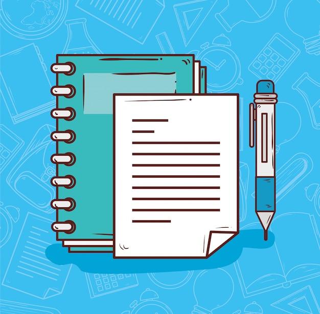 Onderwijsconcept, notitieboekje met ontwerp van de pen het vectorillustratie