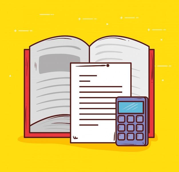 Onderwijsconcept, open boek met vector de illustratieontwerp van de calculatorwiskunde