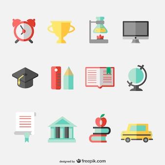 Onderwijsconcept vlakke pictogrammen set