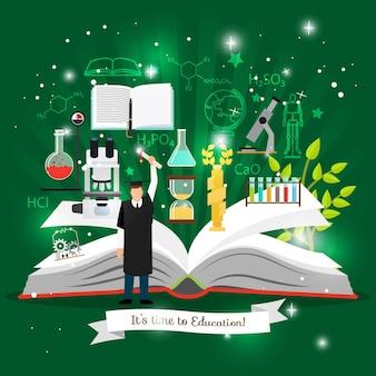 Onderwijsinfographics met open boek van kenniselementen