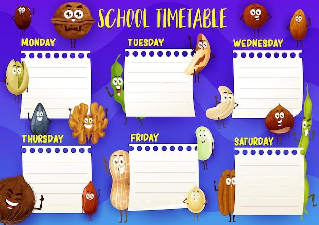 Onderwijsschool tijdschema sjabloon met cartoon noten en zaden karakters