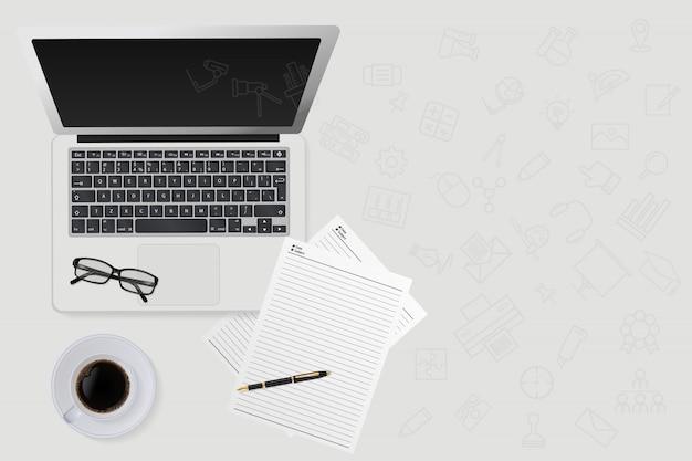 Onderwijstechnologie concept met communicatietechnologie pictogram in computer laptop. vectorillustratie.