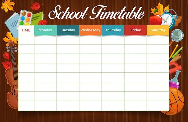 Onderwijstijdschema of schema met sjabloon voor schoolbenodigdheden. wekelijkse planner, studentenlesplan of studietijdschema op houten achtergrond met potlood, pen, boeken en linialen, verf en bal