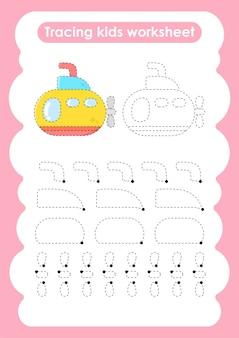 Onderzeeër trace lijnen schrijven en tekenen oefenwerkblad voor kinderen
