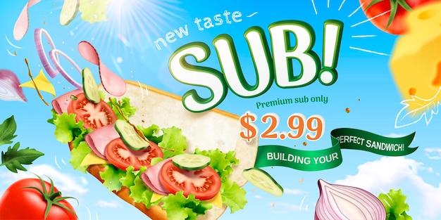 Onderzeese sandwichbanner met vliegende verse ingrediënten op blauwe hemeloppervlakte, 3d illustratie