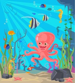 Onderzeese wereld illustratie Premium Vector