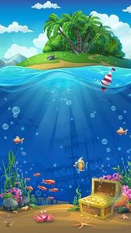 Onderzeese wereld met eiland mobiel formaat. mariene levenslandschap - de oceaan en de onderwaterwereld met verschillende bewoners.