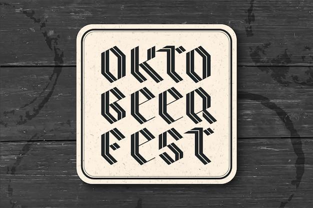 Onderzetter met letters voor oktoberfest beer festival