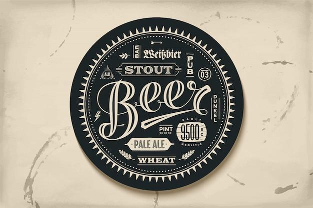 Onderzetter voor bier met hand getrokken belettering
