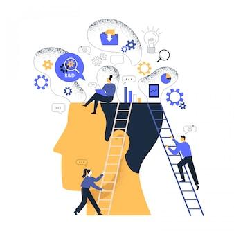 Onderzoek en ontwikkeling labs r en d concept illustratie.