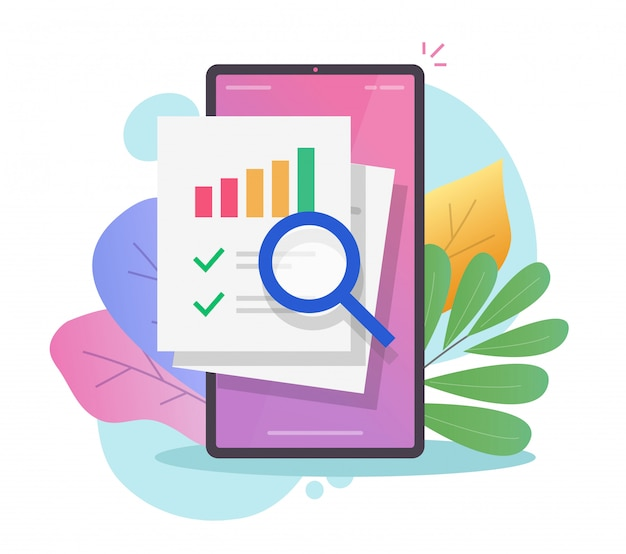 Onderzoek financiën verkoopgegevens audit op mobiele telefoonrapport online of analyse van statistiekeninformatie op smartphone
