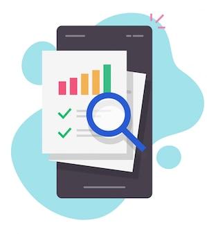 Onderzoek financieren verkoopgegevens audit op mobiele telefoon rapport online of statistieken info analyse op smartphone vector platte cartoon geïsoleerd