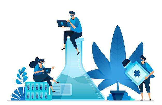 Onderzoek naar cannabis en marihuana voor de gezondheid. ganja-plant voor de industrie.