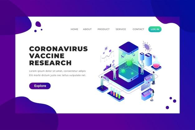 Onderzoek naar coronavirusvaccin - vectorbestemmingspagina