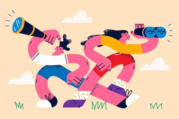 Onderzoek, op zoek naar iets concept. twee jonge mensen, vrouw en man die met verrekijker in handen staan op zoek naar iets veraf vectorillustratie