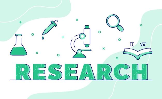 Onderzoek typografie woord kunst achtergrond van pictogram bekerglas microscoop vergrootglas formule met kaderstijl
