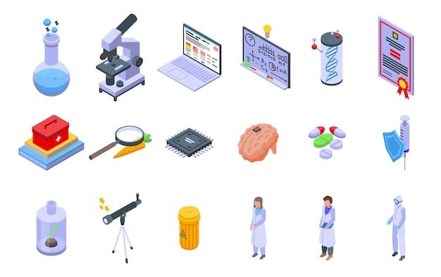 Onderzoek wetenschapper pictogrammen instellen. isometrische set van onderzoekswetenschapper vector iconen voor webdesign geïsoleerd op een witte achtergrond