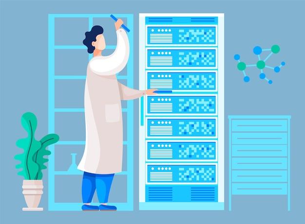 Onderzoeker die in science center werkt en resultaten van test of analyse controleert.