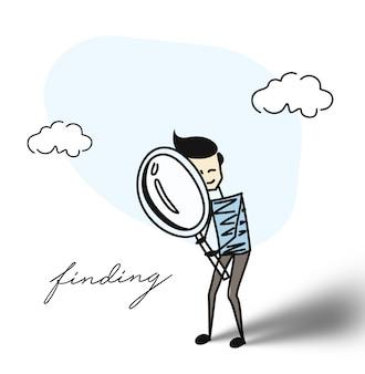 Onderzoeker op zoek met vergrootglas. plat ontwerp. cartoon hand getrokken schets vector achtergrond.