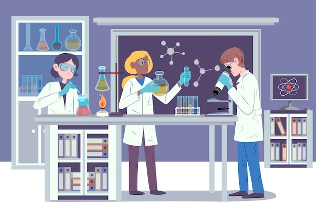 Onderzoekers die werken in een wetenschappelijk laboratorium