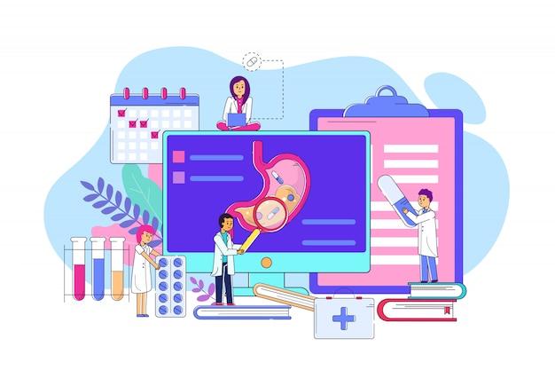 Onderzoeksmaag op de lijnillustratie van het elektronisch apparaatconcept. man en vrouwenkarakter in het medische laag onderzoeken