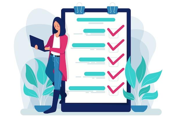 Onderzoeksrapport, checklist, vragenlijst, zakelijke illustratie.