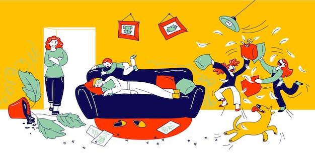 Ondeugende hyperactieve kinderen die vechten, kleine jongen en meisjes spelen en rotzooien, rond slapende vader. cartoon afbeelding