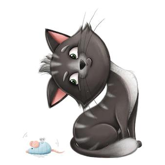 Ondeugende zwarte kat kitten met speelgoed muis mooie kinder illustratie voor kleding, ansichtkaarten, baby