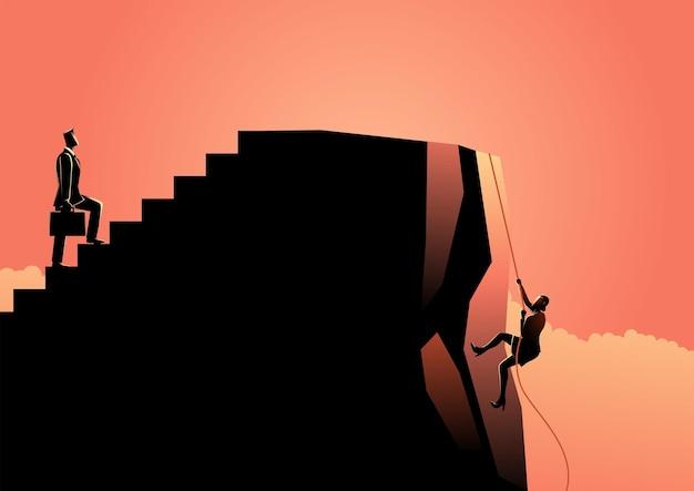 Oneerlijk concept in zaken tussen zakenman en zakenvrouw ongelijkheid gedeeltelijk in zaken