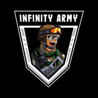 Oneindig leger mascotte logo