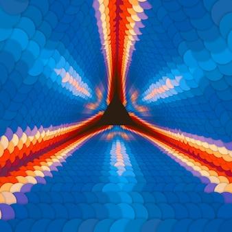 Oneindige driehoekige tunnel van kleurrijke cirkels