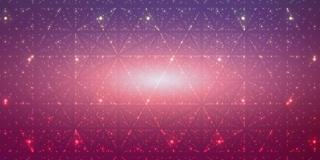 Oneindige ruimteachtergrond. matrix van gloeiende sterren met illusie van diepte, perspectief.