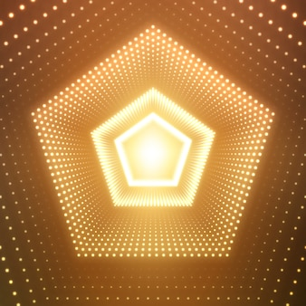 Oneindige vijfhoekige tunnel van glanzende fakkels op oranje achtergrond