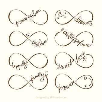 Oneindigheidssymbool met woordinzameling