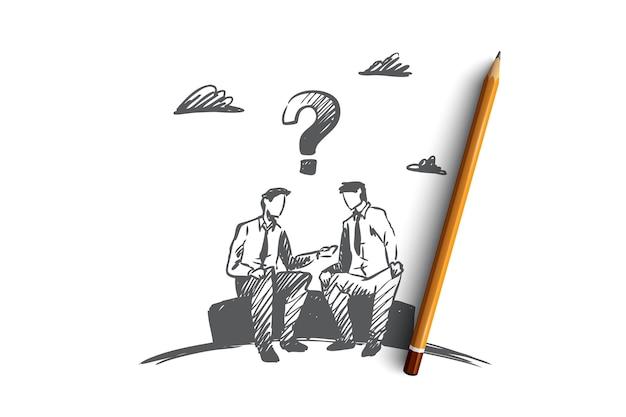 Onenigheid, zaken, mensen, conflictconcept. hand getrokken zakenlieden bespreken werkkwesties concept schets.