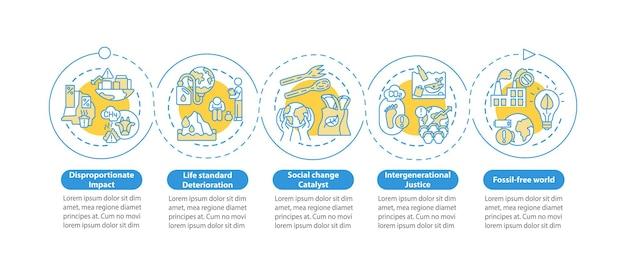 Onevenredige impact infographic sjabloon. milieuverantwoordelijkheid presentatie ontwerpelementen. datavisualisatie met 4 stappen. proces tijdlijn grafiek. werkstroomlay-out met lineaire pictogrammen