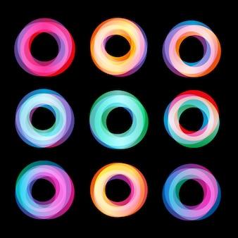 Ongebruikelijke abstracte geometrische vormen logo set. circulaire kleurrijke collectie