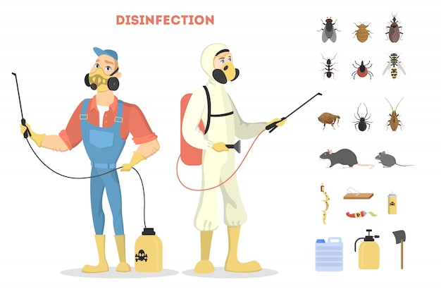 Ongediertebestrijding. desinfectie door slechte insecten of virussen.