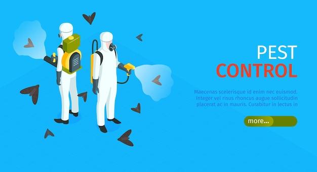 Ongediertebestrijding horizontale banner met verdelgers van insecten in chemische beschermingsmiddelen