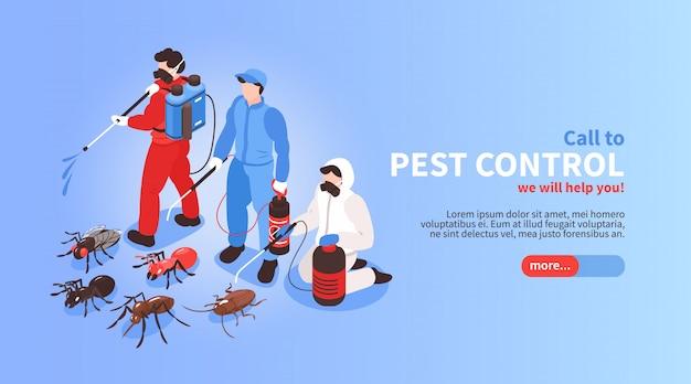 Ongediertebestrijding huis hygiëne desinfectie service isometrische website banner met professioneel team insecten achtergrond uitroeien