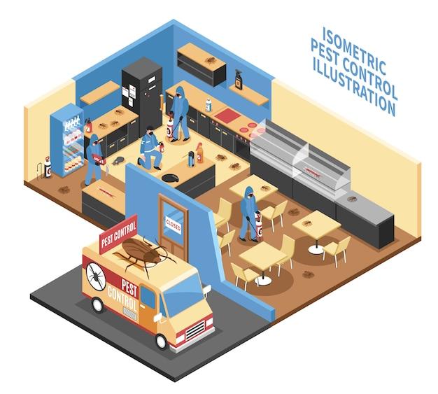 Ongediertebestrijding in cafe isometrische illustratie