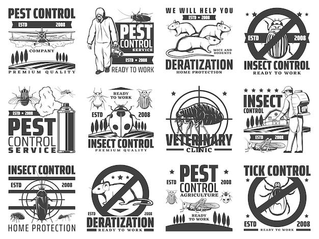 Ongediertebestrijding, uitroeiing van knaagdieren en insecten. deratisering, uitroeiing van insecten en ongediertebestrijding in de landbouw met afstoffen van pesticiden, dierenkliniek en tekengevaarembleem